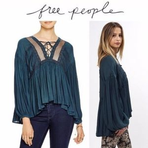 NWT Free People Don't Let Go Blouse Forest Green